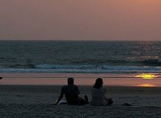 couple sitting at beach